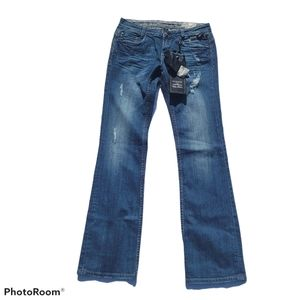 Express ReRock Boot cut Distressed Darkwash Jeans